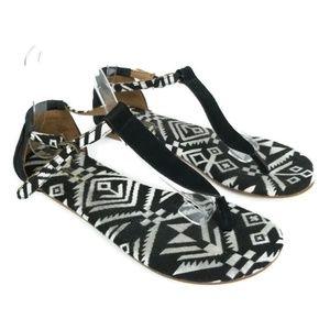 TOMS Playa T Strap Sandal Flat Ankle Strap 1252
